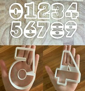 """Number Cookie Cutters 4.5"""" THICK Large Biscuit Fondant 0-9 Birthday Anniversary"""
