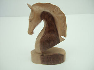 HORSES HEAD - PEGASUS ? -  20cm TALL - HAND CARVED IN WOOD - TWO TONE