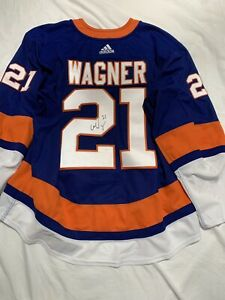 GAME WORN GAME USED JERSEY CHRIS WAGNER NEW YORK ISLANDERS BLUE HOME Signed