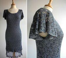 BELLE BY OASIS Silver Grey Crochet Dress Size M UK