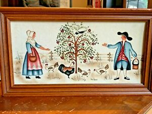 Theorem Folk Art Painting On Velvet 12x 6 Jean Henry Original Art Wood Pilgrims