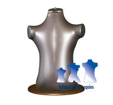 Inflatable Child Torso, Silver With Wood Table Top Stand