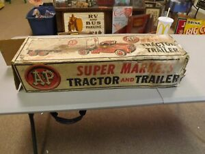 Vintage Marx A&P Toy Truck Tractor Trailer in Original Box GAS OIL SODA COLA