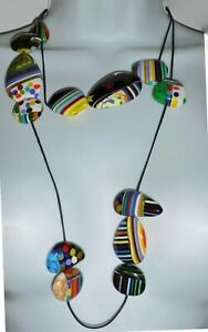 """Sobral Circus Ilusionismo Fun Colorful Mix Bead 49"""" Long Necklace Brazil Import"""