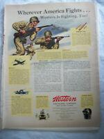 VTG 1943 Orig Magazine Ad Wester Cartridge Co America Fights Western Too