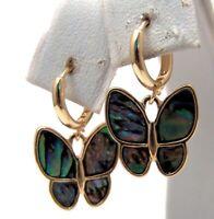 Butterfly Earrings Abalone Huggie Hoop Gold Tone