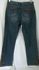 JONES NEW YORK  Women's Size 14 High Rise Embroidered Floral Jeans ~~~#2
