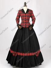 Victorian Civil War Dickens Plaid Caroler Dress Gown Women Halloween Costume 122