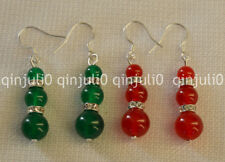 REAL NATURAL JADE EARRING RED / GREEN JADE DANGLE DROP EARRING SILVER HOOK JE98