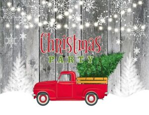 Xmas Tree in Red Truck Rustic Wood Wall 7x5ft Backdrop Vinyl Photo Background LB