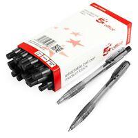 5 Star Retractable Ballpoint Pen - 0.7mm Medium Nib - Black Ink - Pack of 20