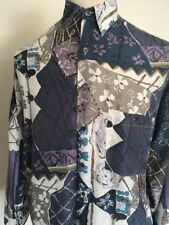 VTG 90s ~ PRISM 100% SILK ABSTRACT FLORAL PRINT BUTTON UP SHIRT ~ Large ~ 90s