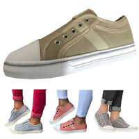Womens Slip On Canvas Flat Trainers Casual Loafers Leisure Comfy Plimsolls Shoes