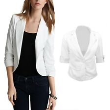 Fitted Top Celebrity Womens Ladies Outerwear Crop Jacket Sweater Blazer Size 12 White 14