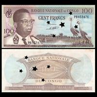 Congo 100 Francs, 1964, P-6, Cancelled, A-UNC