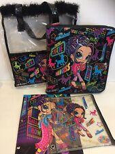 VTG Lisa Frank Glamour Girl Travel Shopping Zip Binder Raver Bag Folder 90s Lot