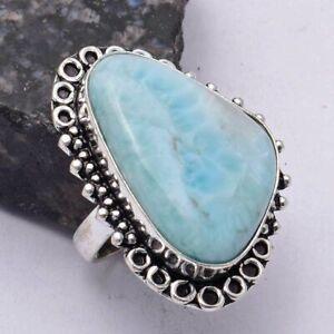 Larimar Ethnic Handmade Ring Jewelry US Size-8.75 AR 41557