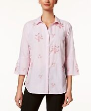 Charter Club Womens Pink Embellished Casual Button-down Top Shirt 16 BHFO 7342