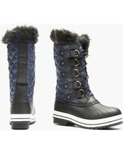 Winter Boots Lace Front Cold Weather Quilted Sociology Sophia Navy SZ 8 Women