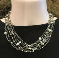 Crystal Multi Strand Collar Necklace-$68-Nwt! Belle Badgley Mischka Silver Pearl