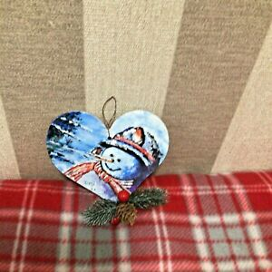 hand painted christmas decoration snowman heart