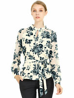 Women's Keyhole Collar Long Sleeve Chiffon Floral Blouse Beige Large