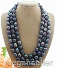 Rare Big 12-13MM black Baroque freshwater Cultured Pearl Necklace 50""