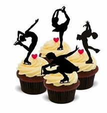 Novelty SILHOUETTE ICE SKATER MIX 12 STANDUPS Edible Cake Toppers Skating Dance