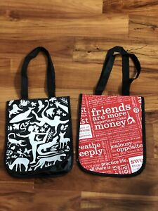 New Lot of 2 Lululemon Tote Shopping Bag Manifesto Tote Carry Red Black White
