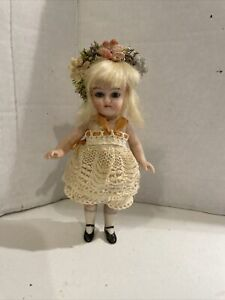 Antique German Bisque Miniature Glass Eye Jointed Dollhouse Doll ! CUTE!