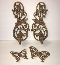 VTG HOMCO Home Interior Wood Look Sconce Candle Holders 2 Butterfly Wall Decor