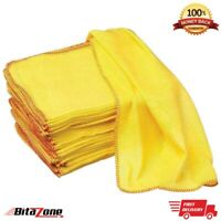 Microfiber Cleaning Yellow Cloths Dusters Car Bathroom Polish Towels, Premium