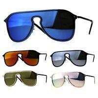Mens Color Mirror Oversize Rimless Metal Trim Shield Racer Sunglasses