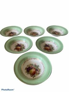 Vintage Desert Bowls X 6 Multi Coloured Floral