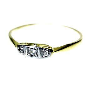 Art Deco 9ct 9k Gold Platinum Diamond Ring Size 8 3/4 - R