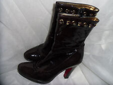 ALBANO WOMEN'S BROWN PATENT LEATHER ZIP UP ANKLE BOOT. SIZE UK 5 EU 38 VGC