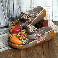 SOCOFY Women Vintage Colorful Leather Hollow Out Shoes Backless Flower Sandals