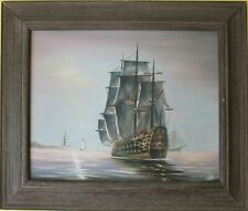 Original vintage oil painting on canvas, seascape,Sailing ships on the Sea