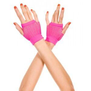 Neon Pink Small Diamond Net Dancer Style Fingerless Gloves Sexy Lingerie P478