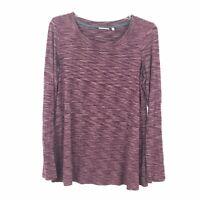 LOGO Lori Goldstein Womens Size XS Purple Long Sleeve Stretch Shirt Top