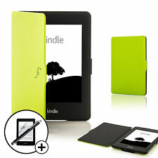 Leather Green Smart Case for Amazon Kindle Paperwhite 2015 + Screen Prot Stylus