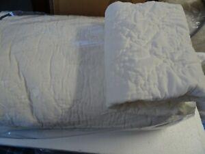 Pottery Barn Washed Velvet King  quilt ivory + 1 Euro sham customer return see