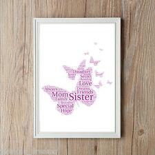 Personalised Butterflies Word Art Print Daughter Mother Nan Family Wedding