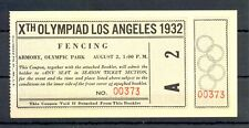 USA 1932 SUMMER OLYMPICS ---FULL TICKET= FENCING = UNFOLDED TOP CONDITION