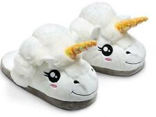 New Women White Soft Cotton Plush Unicorn Slipper Shoe Winter Warm Home Indoor