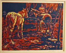 ranch HORSES corral EBSQ Kim Loberg HAND Pulled FINE ART Block reduction Print