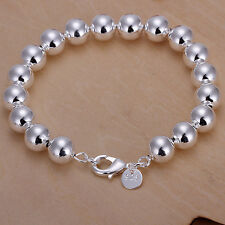 hot sale! wholesale Sterling solid silver 10mm ball bangle bracelet +box LFSB136