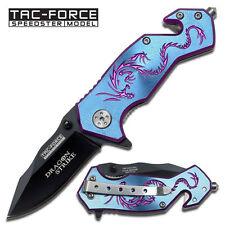 Tac-Force Fantasy Blue Dragon Strike Rescue Spring Assist Assisted Knife #686BL