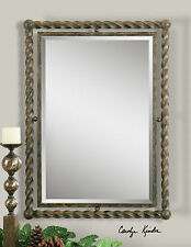 """LARGE 35"""" HEAVY RUSTIC TWISTED WROUGHT IRON BEVELED WALL MIRROR SPANISH STYLE"""