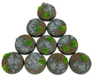 Rocks - Round Resin Bases 25 mm - 10 Painted/Unpainted Bases for Warhammer